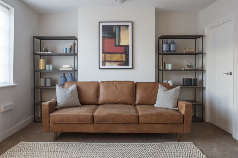 Therapy room with leather sofa