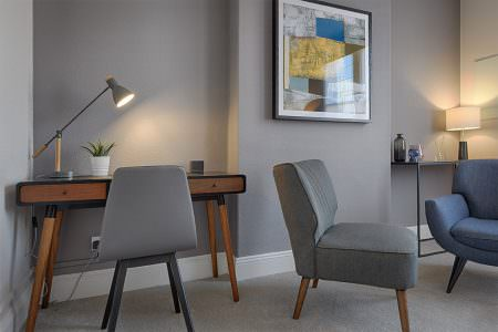 Therapy room with neutral colour palette