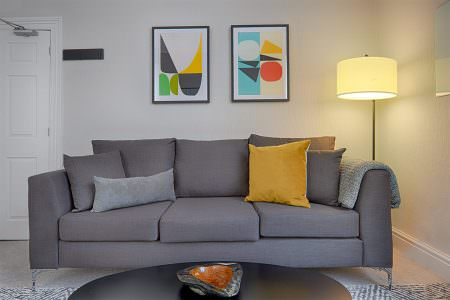 Sofa with contemporary art