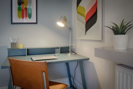 Group therapy room with desk